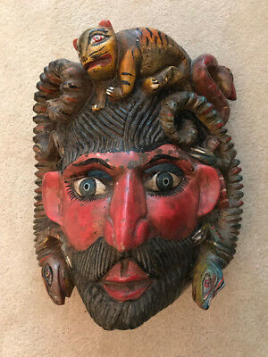 Antique wooden Mexican Nahua mask - possibly by Jose Rodriguez, 1923.