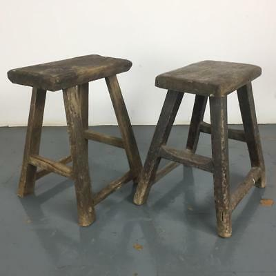 Pair Of Vintage Rustic Antique Wooden Stools Milking Large P219