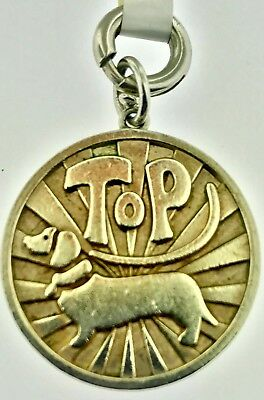 3273c9794 Tiffany & Co Top Dog Dachshund Coin Charm Sterling Silver 4 Bracelet Pendant ~WOW
