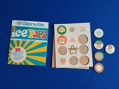 Vintage 1970s Glenvile Ice Pops Empty Packet and Badge Stickers