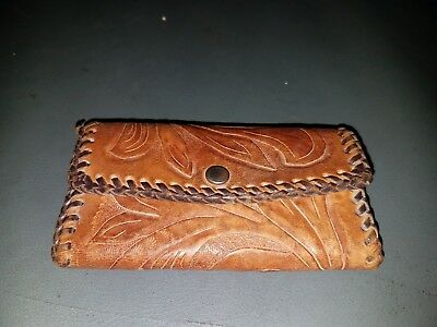 True Vintage tooled Leather Wallet Coin Holder Brown Snap Fold Laced USA nice