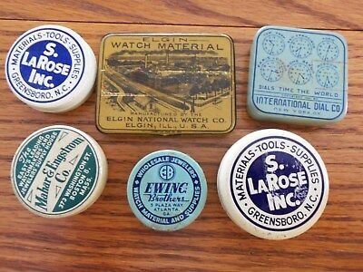 Vintage Antique Wristwatch Watches LOT of TINS SIX Tools Supplies ELGIN
