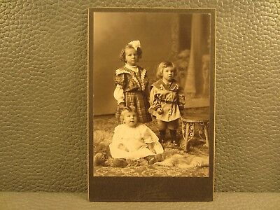 Victorian Antique Cabinet Card Photo of Children, Kids, Brother and Sisters