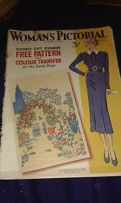 Woman's Pictorial 31 October 1936 - with original, unused transfer