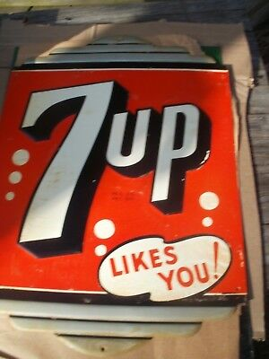 Vintage Metal 7Up Soda  Sign Great Condition Art Dec Style
