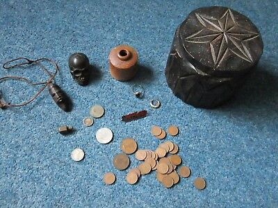 Mixed lot of collectables from cupboard clear out coins, gold ring, ink well etc