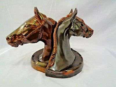 1940s Gladys Brown Edwards Dodge Thoroughbred Hunt Horse Copper Bronzed Bookends