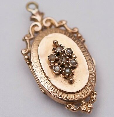 Antique Victorian 10K Rose Gold Seed Pearl Photo Locket Pendant