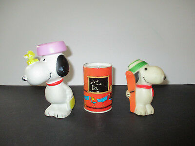 Lot of 3 Peanut's Snoopy --2 Rubber Squeaky Toys & 1 Metal Tin Bank--Rare