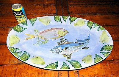 """Italy Hand Painted Ocean Fish Gigantic Oval Serving Seafood Platter 24"""" X 15"""""""