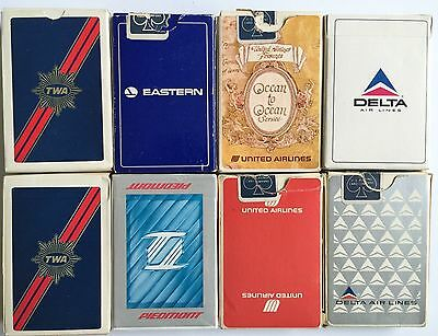 Vintage Lot 8 Decks Of Airlines Playing Cards  Eastern United Delta Twa Piedmont