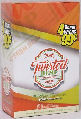 Twisted Hemp Mango Pineapple 15 Packs 60 Wraps Rolling Papers Endless Summer