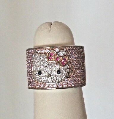 Sanrio Hello Kitty Sterling Silver CZ Wide Band Ring - Size 6