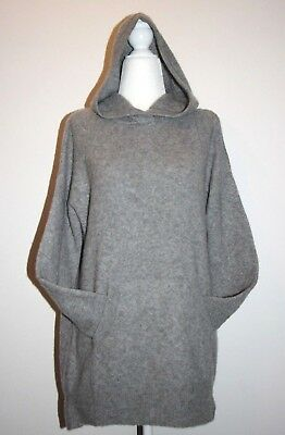 TAHARI Thick Fluffy Luxe Cashmere Blend Kangaroo Pocket Hooded Sweater sz S, XL