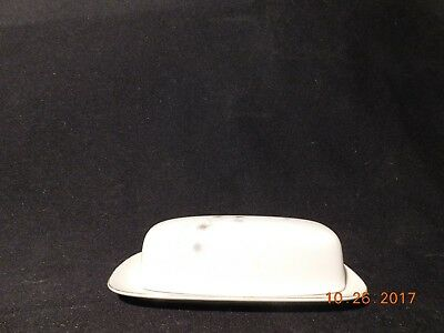Fine China Covered Butter Dish by Creative, Platinum Star Burst Design~#144
