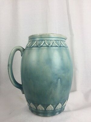 Old Antique Vintage Arthur Wood Large Jug Pitcher Vase Blue Douglas