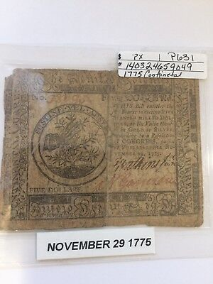 American Colonial Continental Currency $5 1775