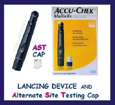 New Accu-Chek MULTICLIX Lancing Device,12 Sealed Lancets & Clear AST Cap