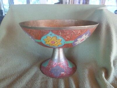 Vintage Enesco Imports Hand Painted Solid Brass Bowl Etched  Incense Purple