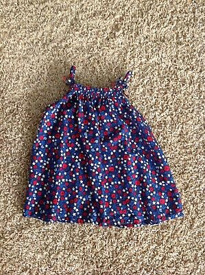 CUTE Oshkosh Red White Blue Floral Tank Top Size 4 4th July