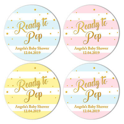 48 x BABY SHOWER PERSONALISED ROUND STICKERS LABELS READY TO POP PARTY FAVOURS