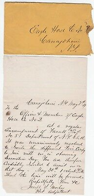 RARE Letter Signed - Canajoharie NY - Mosher Civil War 1877 GAR 115th  Fire Dept