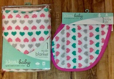 """Ideal Baby muslin blanket and Bib Hearts 42"""" x 42"""" by makers of Aden & Anais NIB"""