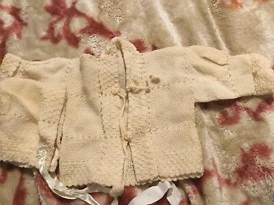 Vintage Baby Sweater And Cap.  Lovely Ivory Color