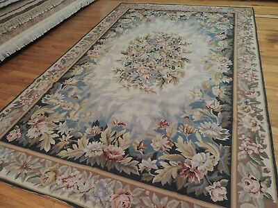 6x9  French Aubusson design Needlepoint area rug wool blue/Gray teal Beige