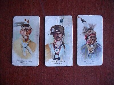 1888 tobacco card Allen & Ginter American Indian Chiefs lot of 3 cards