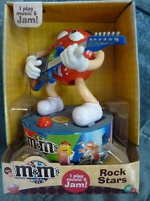"M&M Rockstar ROCK STARS Red Guitar Player Plays Music & Jams 4"" in original box"