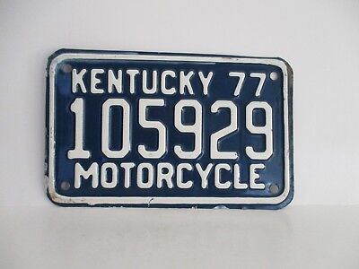 """Vintage Kentucky 1977 Motorcycle License Plate """"Free Shipping"""""""
