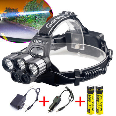 Garberiel 150000LM 5LED Headlamp Rechargeable 18650 Headlight +Charger+Battery