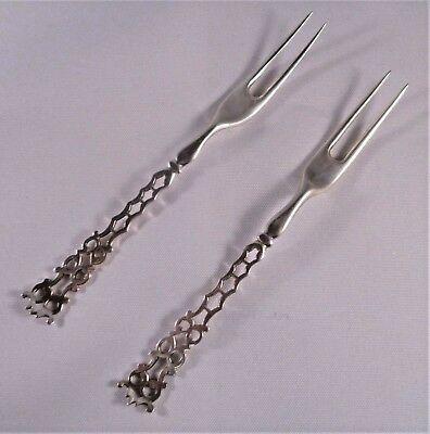 Pair English Sterling Fruit or Pickle Forks Pierced Stem Hallmarked London 1880