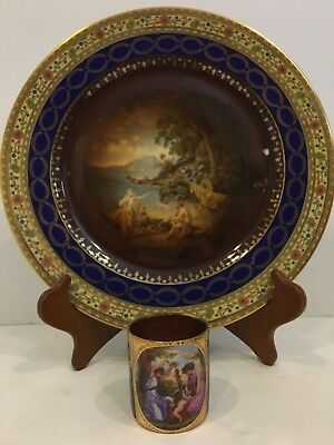 2 Carlsbad  Vienna Style Items Demitasse Cup No Saucer w/ Lady Cherubs & 1 Plate