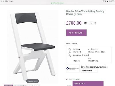 Gautier Falco White Brown Foldable Dinning Chair(pair) RRP£708 New Unused