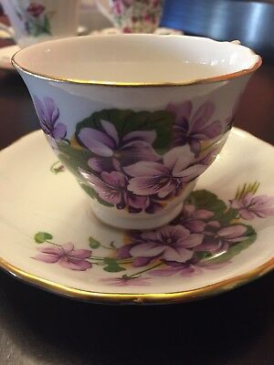 Royal Kent 8260 Tea Cup Staffordshire England Pansies Purple