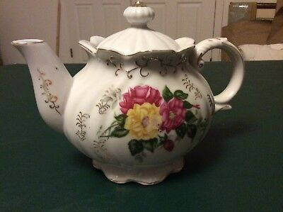 Vintage Porcelain Tea Pot W / Music Box Moss Rose Style