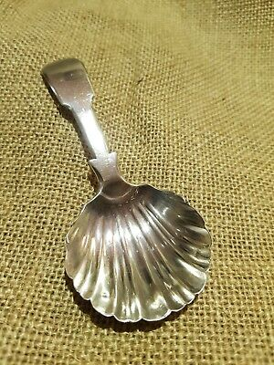 Georgian Irish solid silver Fiddle Backed Shell Shaped Tea Caddy Spoon