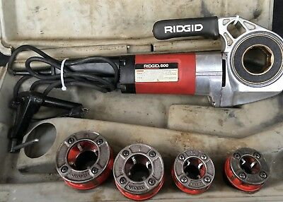 """Ridgid 600 Electric Pipe Threader Kit With Dies 1/2"""" To 1-1/4"""" Nice Shape !!"""