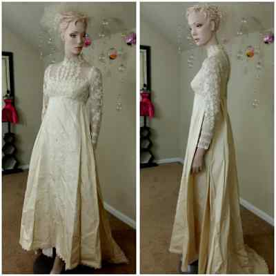 vintage 70s ivory bead wedding dress wedding by Priscilla of Boston