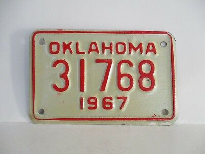 """Vintage 1967 Oklahoma Motorcycle License Plate """"Free Shipping"""""""