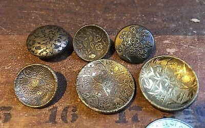 Lot of 6 Antique-Vintage Brass Wallpaper Buttons-Flowers-Pad Back