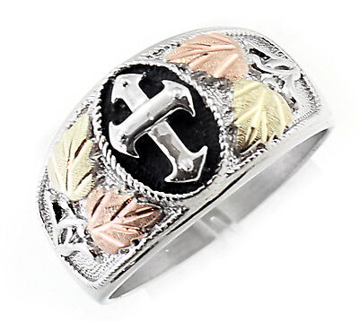 Black Hills Gold on Sterling Silver Men's Cross Ring Oxidized Size 9 to 14