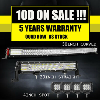 """Curved 52Inch LED Light Bar+22 inch+4"""" CREE PODS OFFROAD SUV 4WD ATV VS 50/20"""""""
