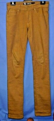 "Boys EFFEKT Brown Denim Jeans Pants Size 28"" Skinny Stretch Elastane Long Leg"