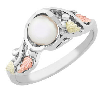 Black Hills Gold on Sterling Silver Ladies Ring with 5.5MM Pearl Size 4 to 10