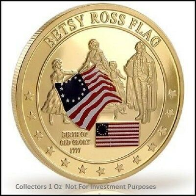 24 K Gold CLAD BETSY ROSS  United States of America  challenge coin