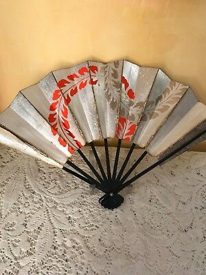 Vintage JAPANESE HAND FAN Black Lacquer Bamboo and Paper Red/Orange on Silver