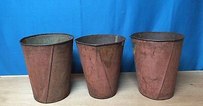 3 VERY OLD TIN SAP BUCKETS Maple Syrup PLANTERS Flowers GREAT DECOR!